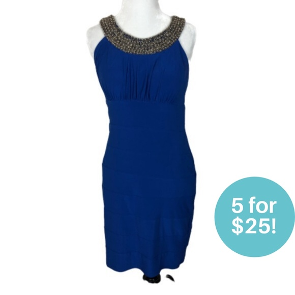 5/$25 - Cleo Petites Blue Beaded Neck Dress Size 4